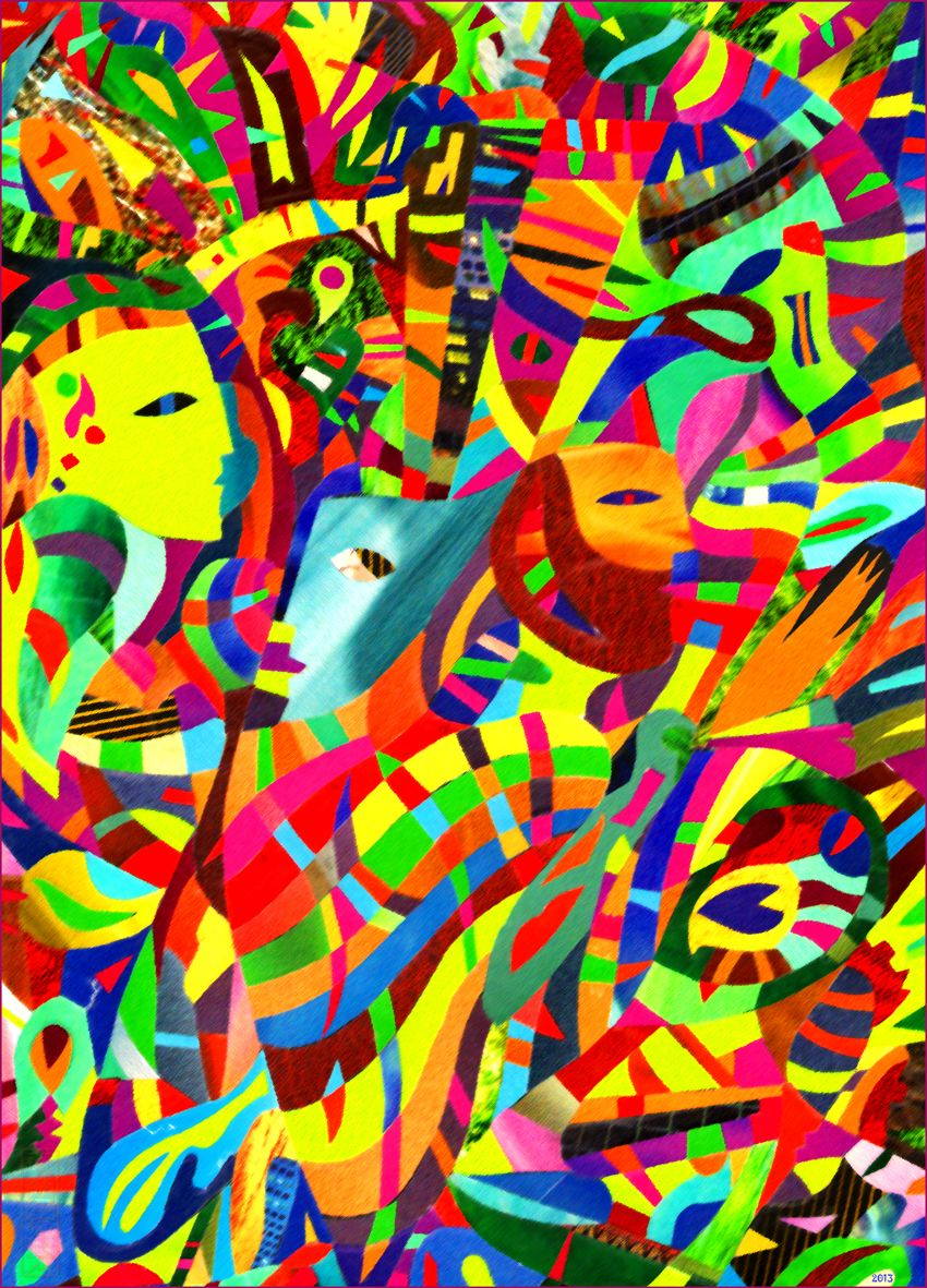 Igor Gapochka The Masquerade Faces Paper Collage 2013