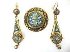 Antique Victorian 14K Gold Micro Mosaic Demi Parure – Pendant/Brooch