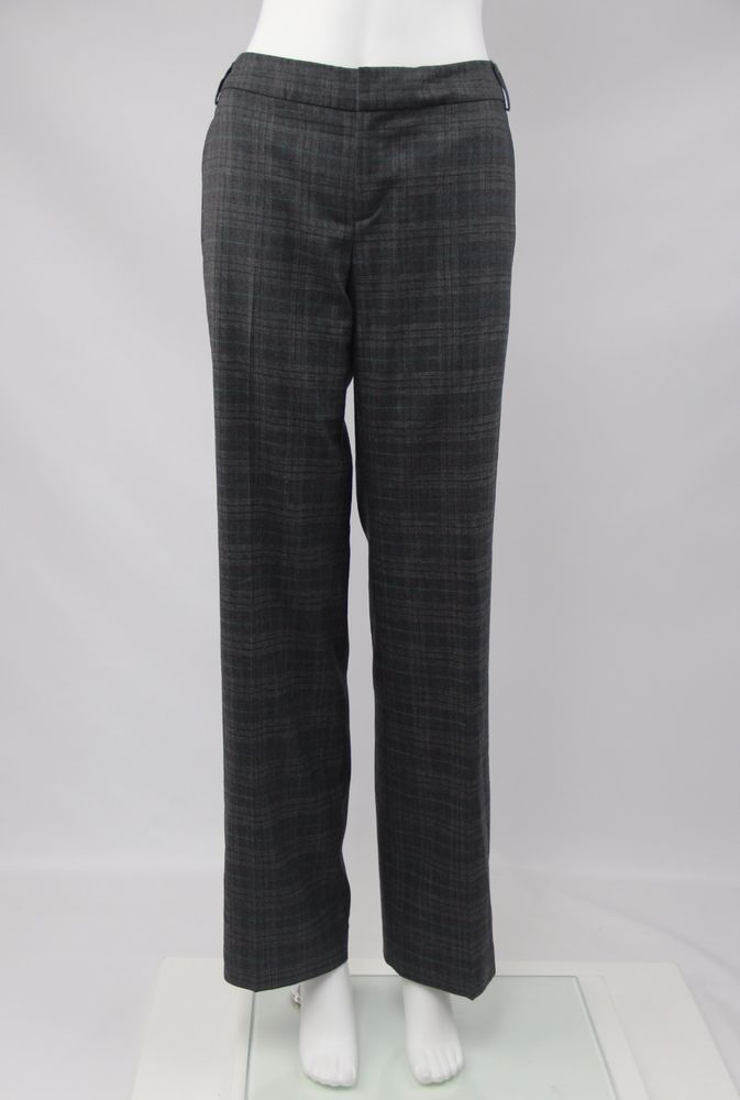 Banana Republic Martin Fit Womens 4 Gray Plaid Fully Lined Stretch Wool Pants…