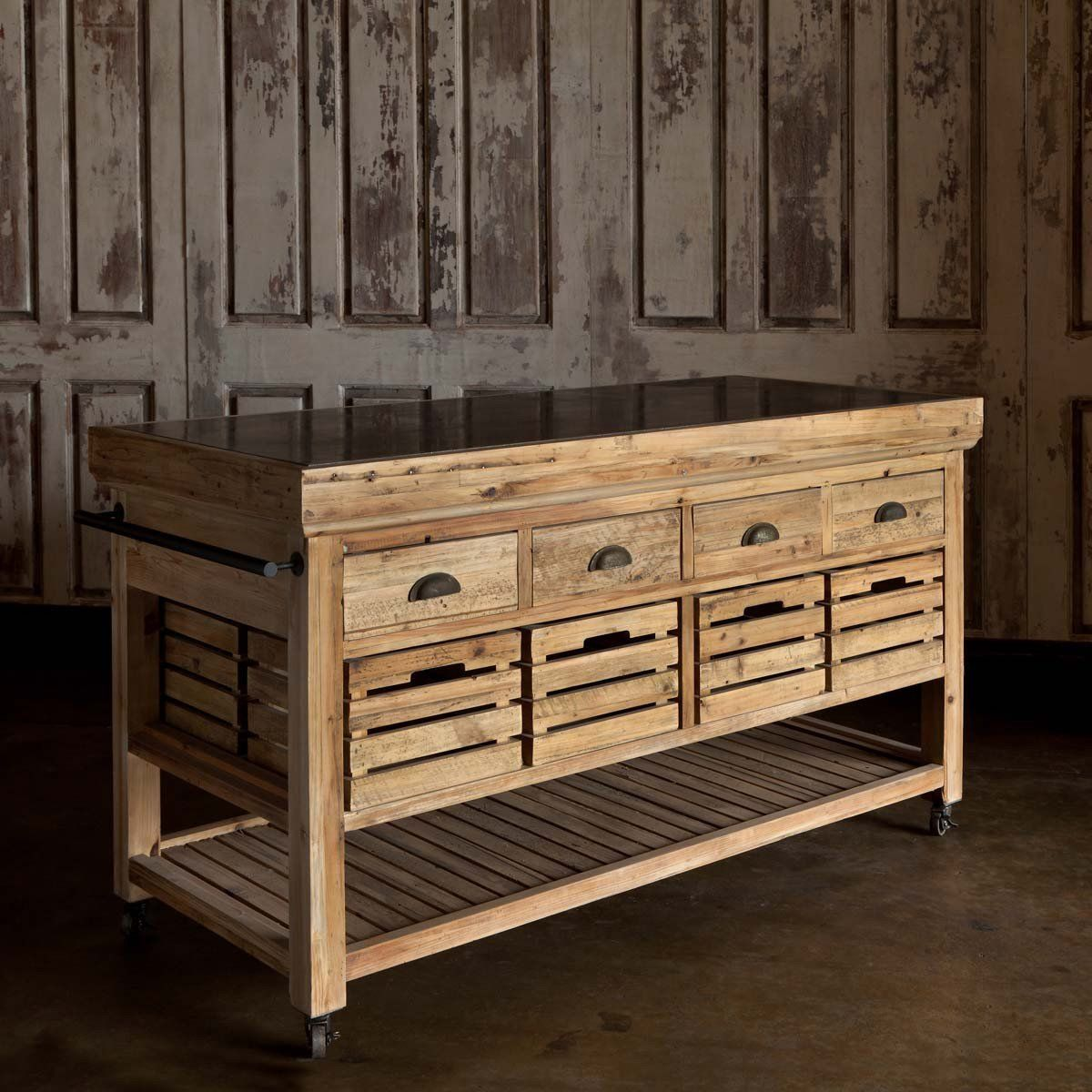 Farmhouse Style Wood and Stone Top Kitchen Island