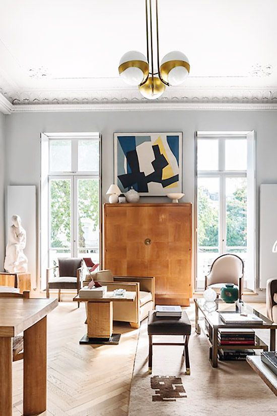 Art Deco Living Room Decor With Tall French Doors On Thou Swell Thouswellblog Interior Deco Art Deco Living Room Deco Furniture