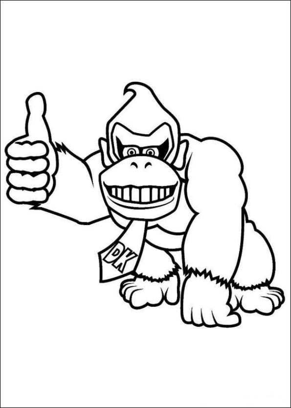 Free Printable Coloring Page Donkey Kong Pixelated
