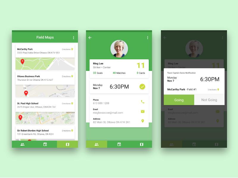 Team Captain Mobile App Design