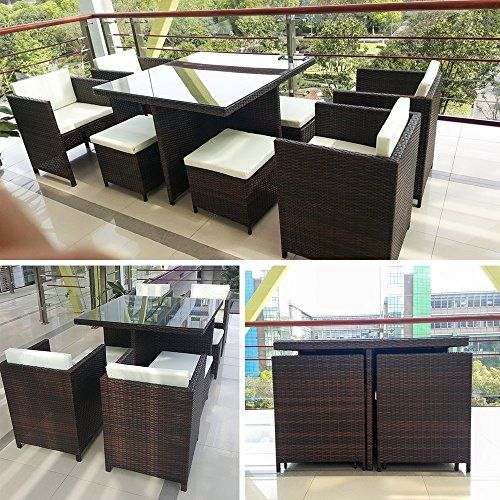 Life Carver Rattan Garden Furniture Patio Set Dining Entertaining Wicker Sofa 8 Seater Cub Chairs Stools Table 9 Pc