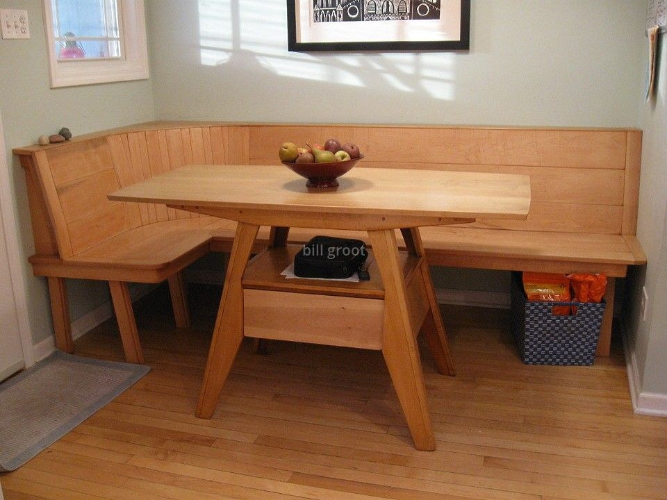 Maple Wood Kitchen Table And Built In Bench Seating Bench Seating Kitchen Table Bench Seating Kitchen Kitchen Table Bench