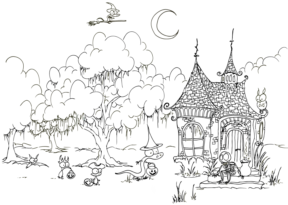 Coloring Page Trick Or Treating Creatures Bluebison Net Halloween Coloring Pages Halloween Coloring Book Free Halloween Coloring Pages