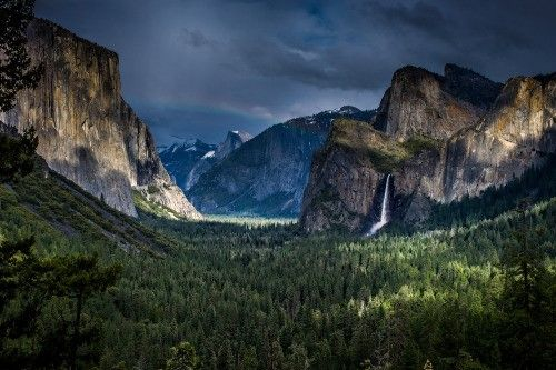 Yosemite Valley after a storm (a faint rainbow is visible)