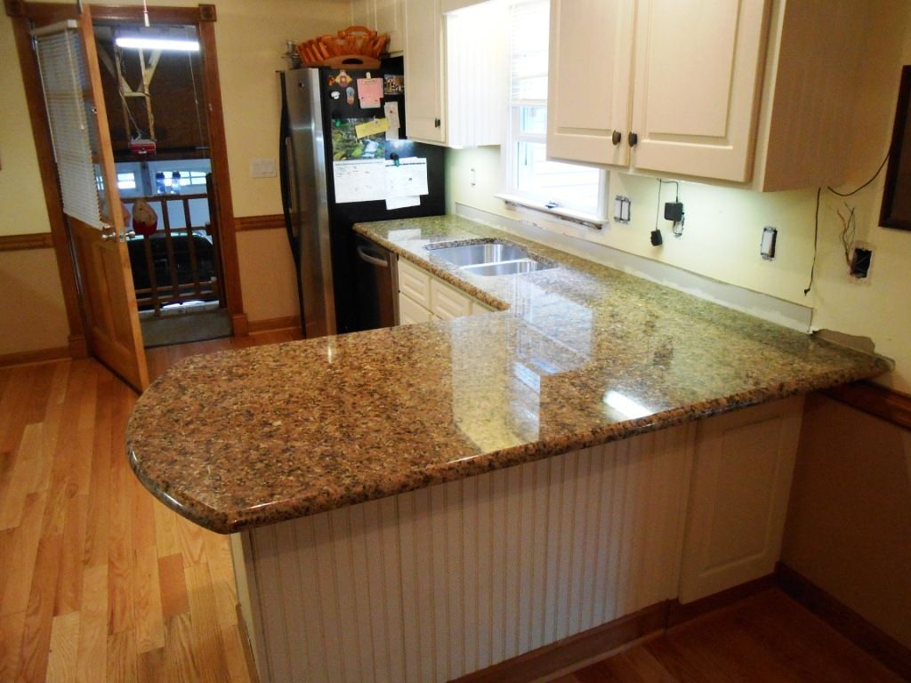 Giallo vicenza granite 4 19 13 granite countertops installed in Kitchen design with granite countertops