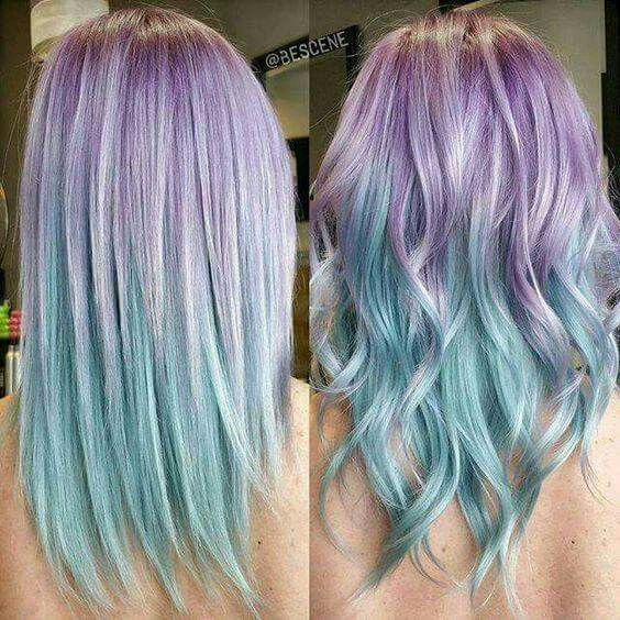Lavender Purple And Sky Blue Hair Hair Color Pastel Dyed Hair