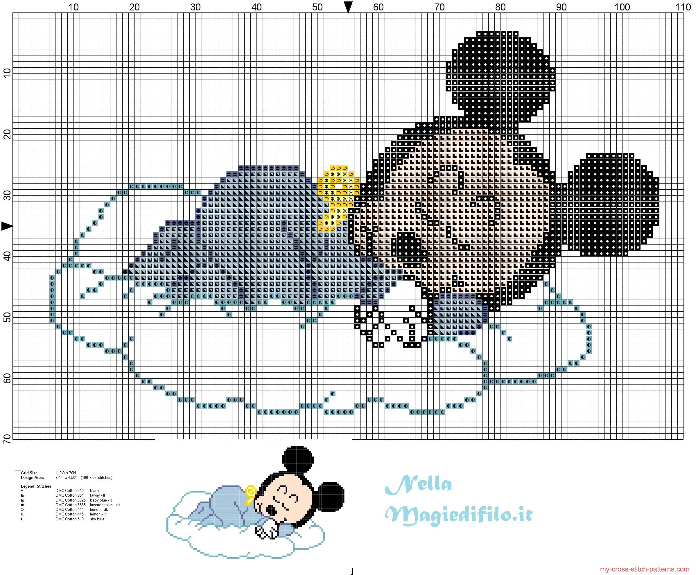 Baby Mickey Mouse sleeping on cloud | baby cross stitch in 2018 ...