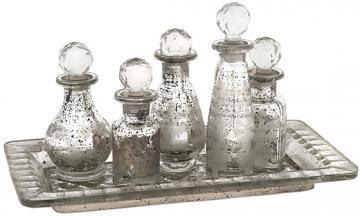 Glass Decorative Bottles Macaire Mini Bottles With Tray Set  Decorative Glass Bottles