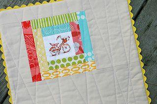 Bike Pillow by Fresh Lemons : Faith, via Flickr - Heather Ross log cabin style squares