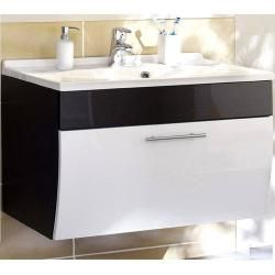 Photo of Bathroom furniture set Talona-02 high gloss white, anthracite, 90cm washstand, mirror (3 parts), W x H x D approx.