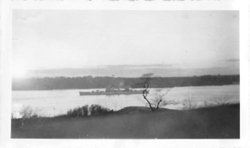 Black and White Vintage Snapshot Photograph Navy Ship River Shore 1940's