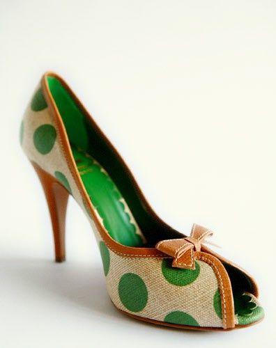 Green polka dotted heels