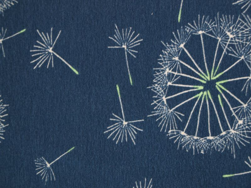 jersey pusteblume pusteblume stoffe und blau. Black Bedroom Furniture Sets. Home Design Ideas