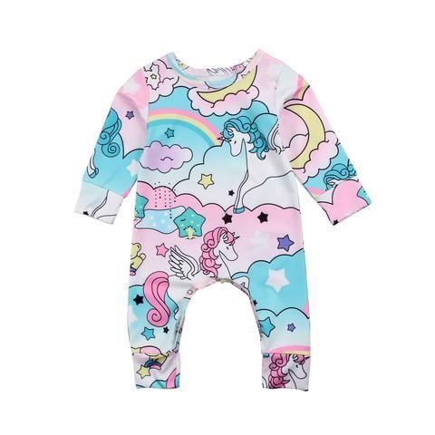 1e531759cfe6 Cartoon Unicorn Baby clothes Cute Baby boys Girls Long sleeves ...