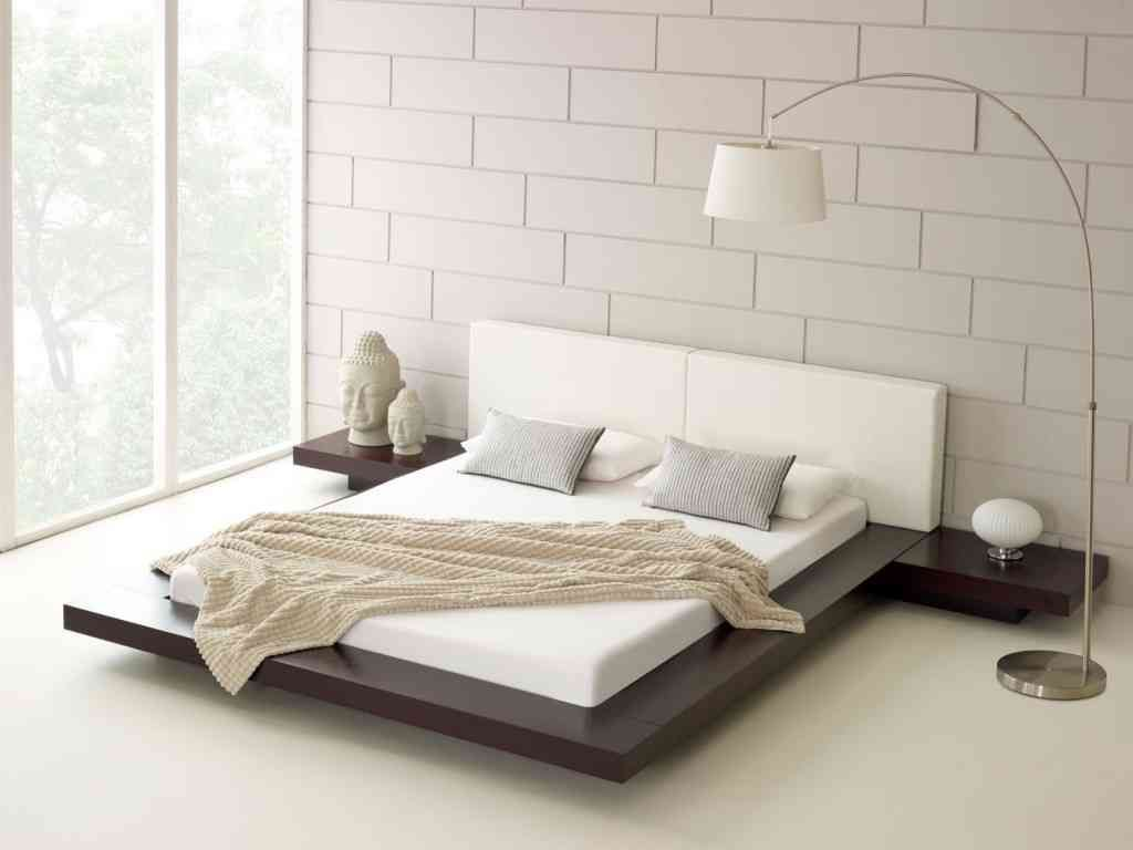 Bedroom Simple Minimalist Bright White In Modern Design With Transparent Window Combined Tile Wall And Arch Floor Lamp