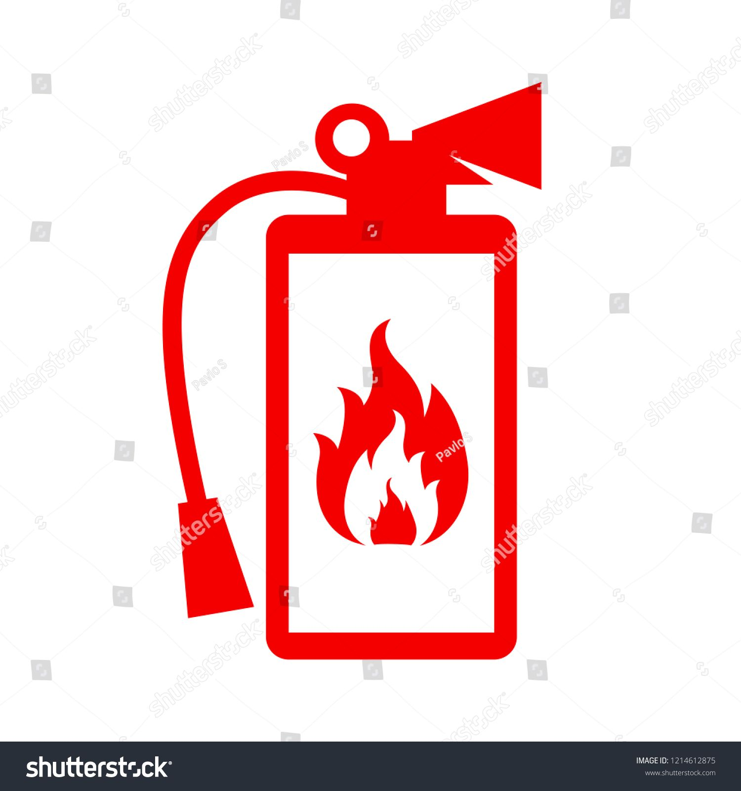 Fire extinguisher icon. Flat fire safety for stock icon