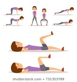 young woman is exercising at home fitness character