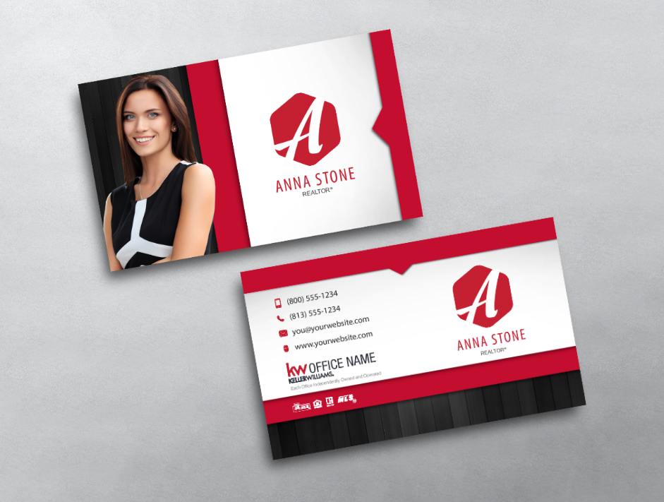 This Keller Williams Business Card Features A Large Agent Photo And Stylized Mo Keller Williams Business Cards Real Estate Business Cards Business Cards Online