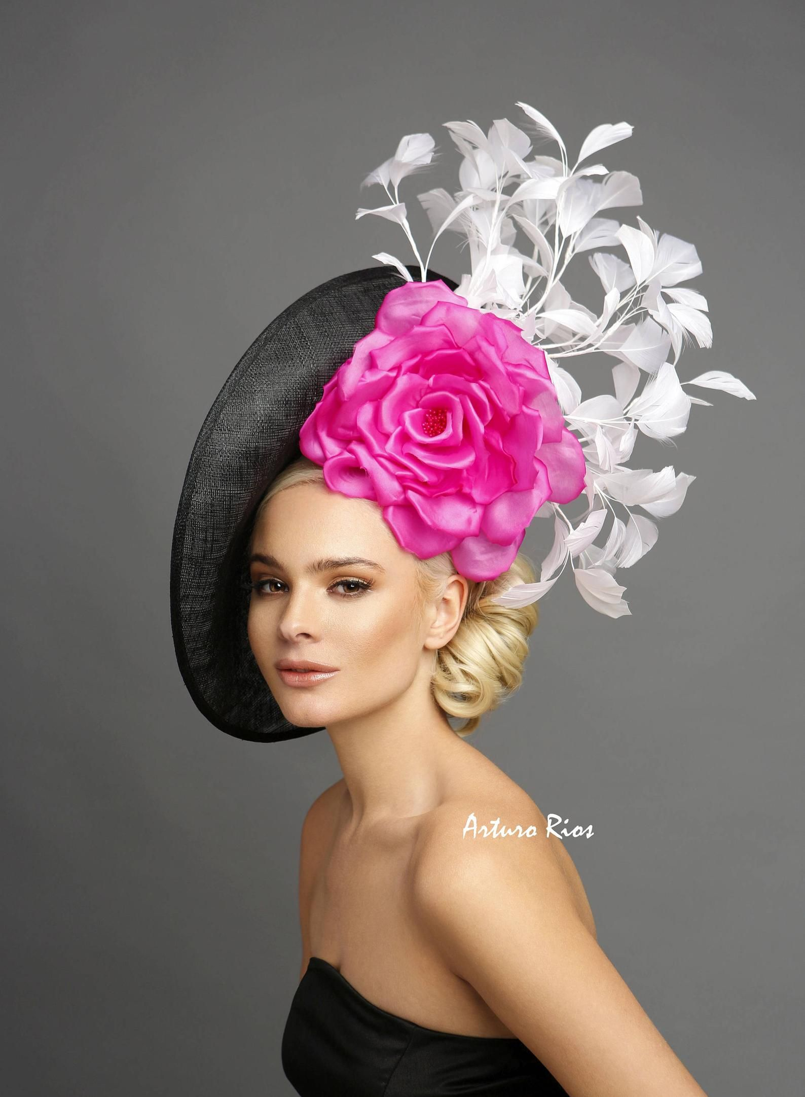 e1025b56 Black/pink/white derby hat, Kentucky derby fascinator, derby hat ...