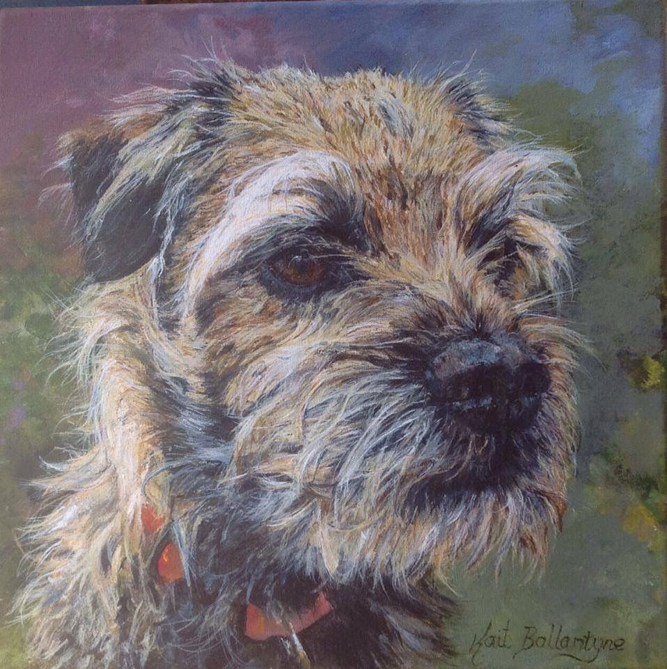 Acrylic On Canvas Painting Of Border Terrier By Kait Ballantyne