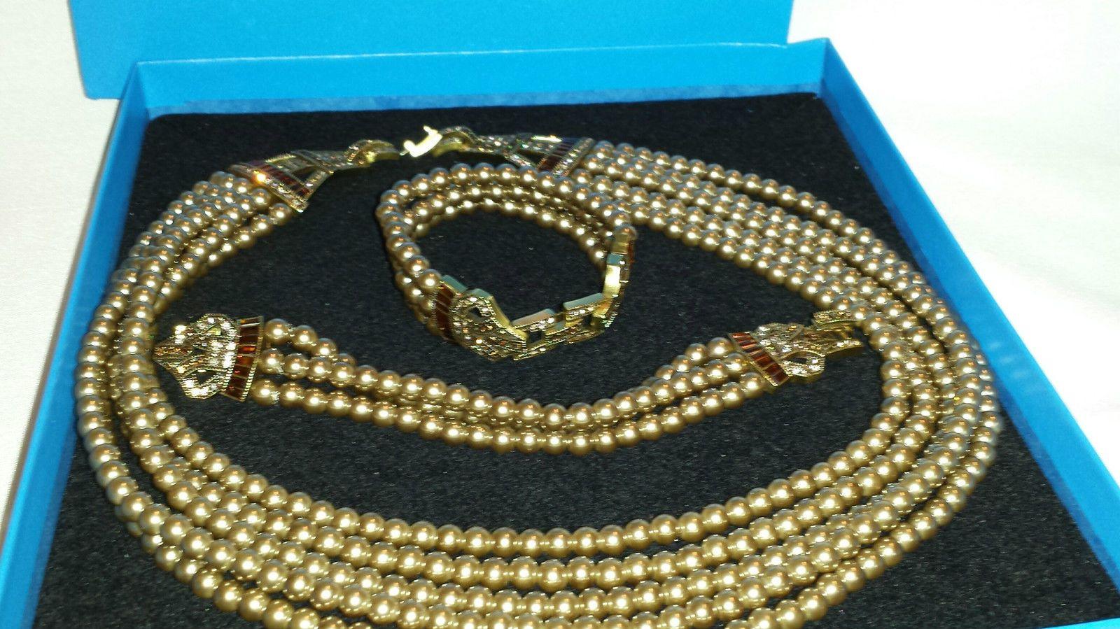 Heidi Daus Heidi Master Clasp Necklace Bracelet Set NIB Smoky Quartz