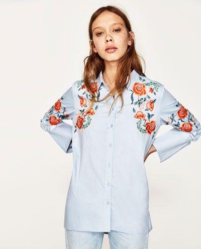 Zdjecie 2 Koszula Z Haftem W Kwiaty Z Zara Floral Embroidered Shirt Top Shirt Women Zara Embroidered Shirt