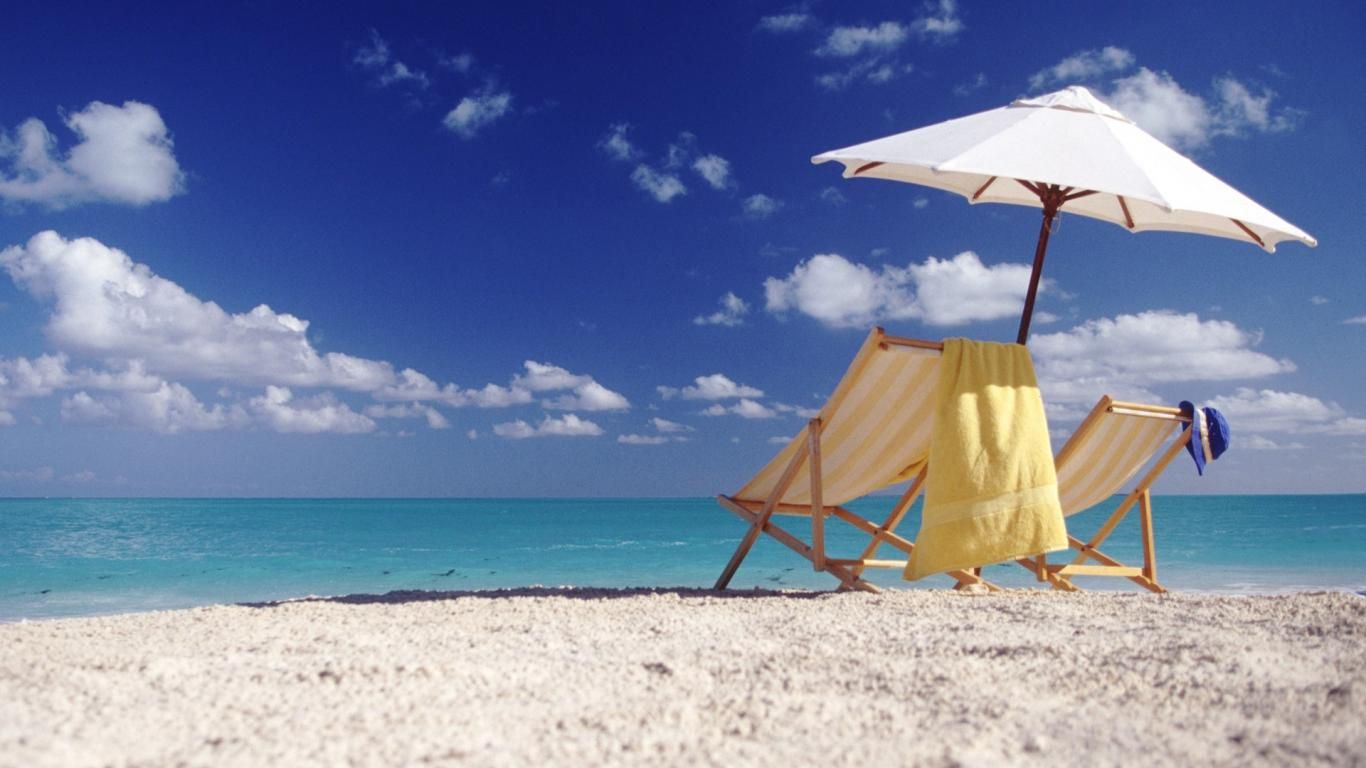 Beach chairs with umbrella - Umbrella Beach Chairs Sun 1366x768 Iwallhd Wallpaper Hd