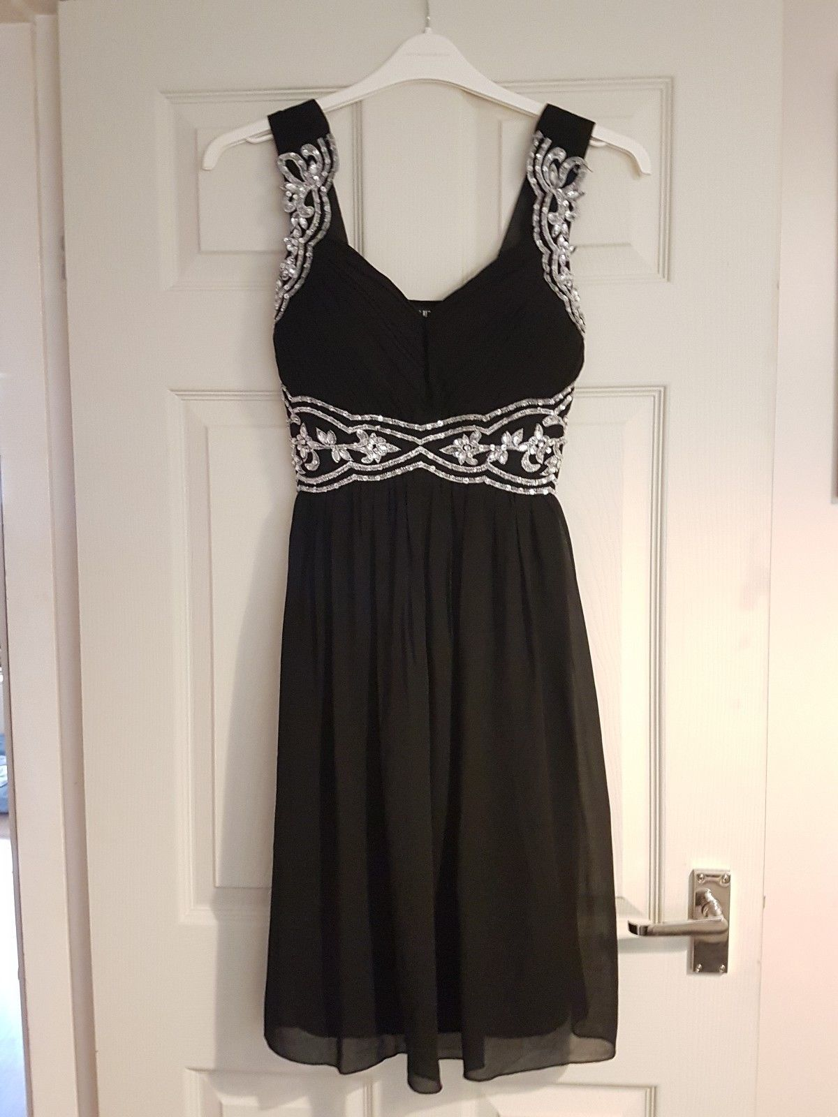 Nice great quiz black u silver party dress size great