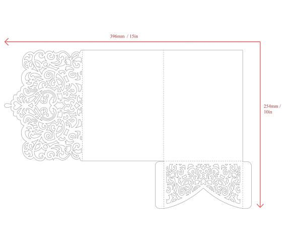 TriFold Ornamental X Wedding Invitation Pocket Envelope Svg