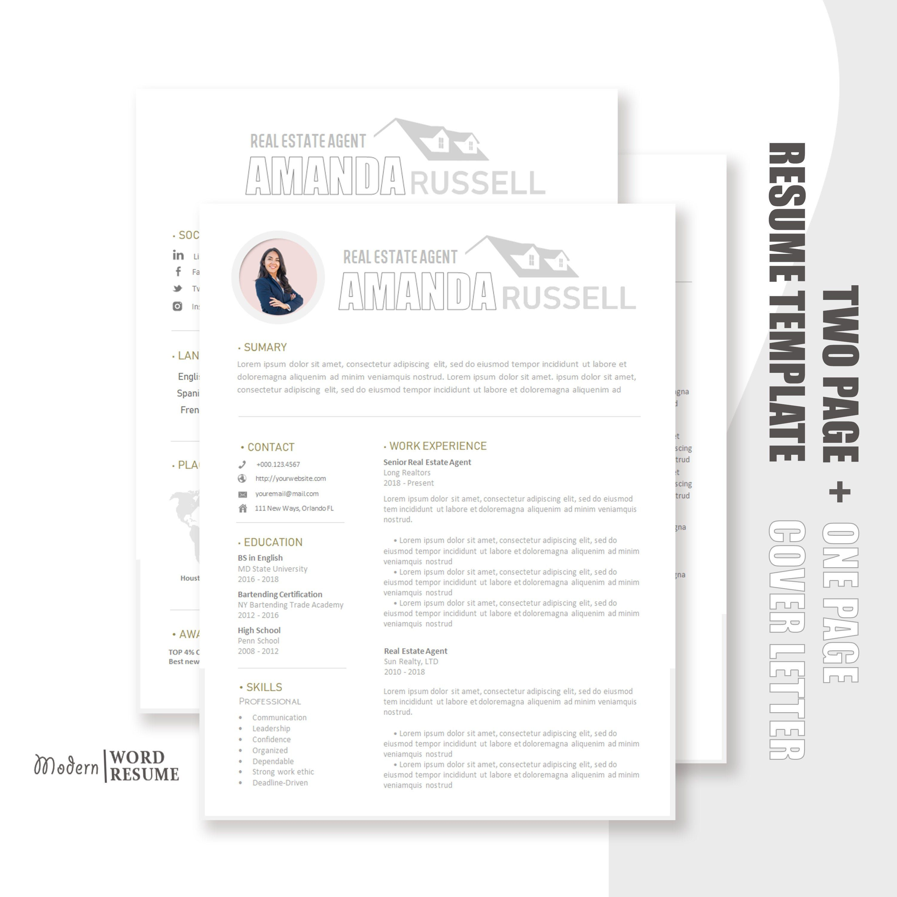 Real Estate Agent Resume Template / CV Template + Cover