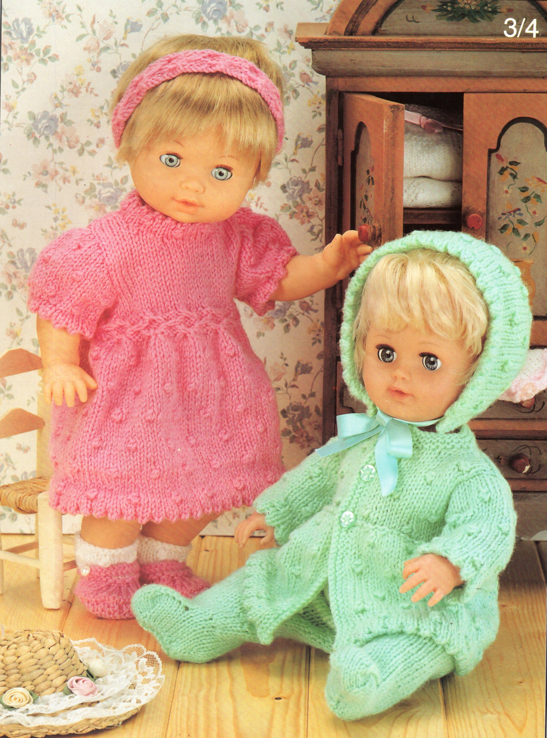 Baby Doll Clothes Knitting Pattern Pdf Baby Doll Dress