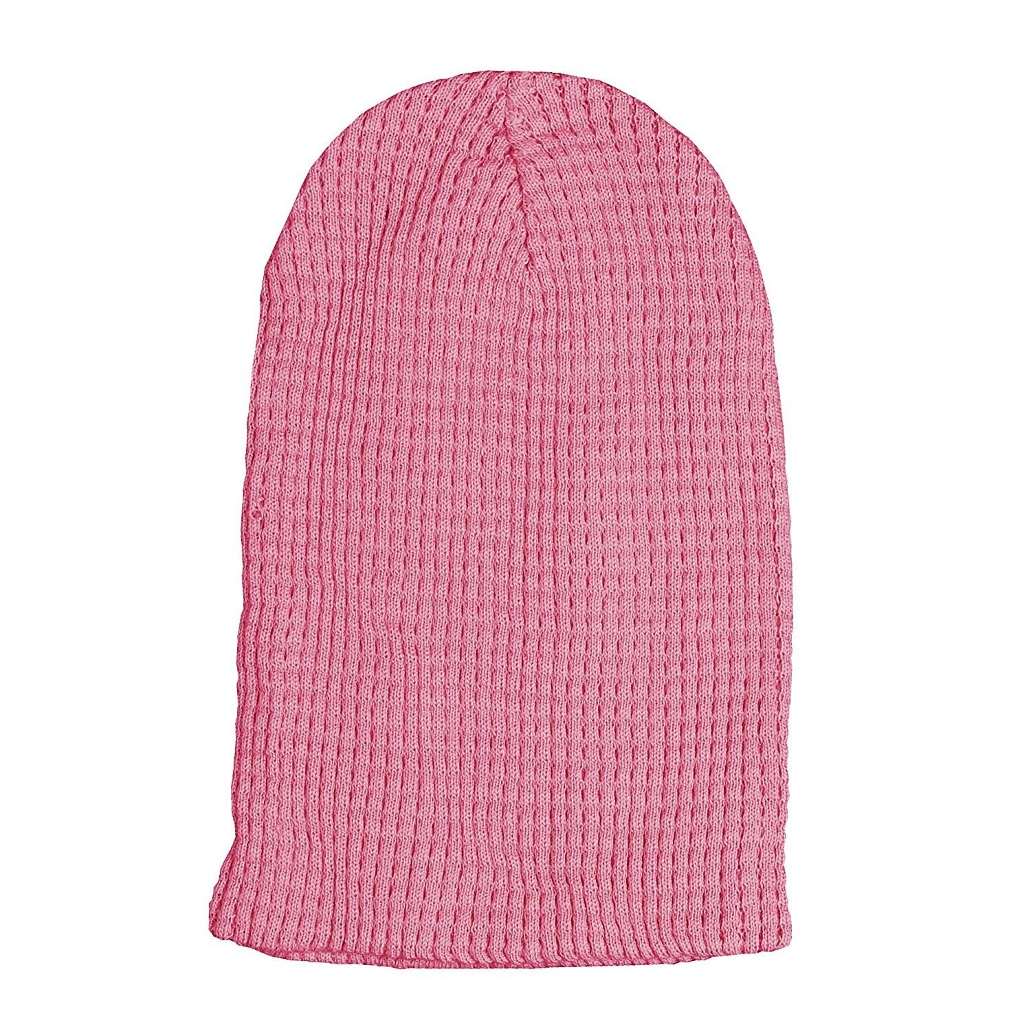 ef873cf47a6 Cotton Embossed Knit Slouchy Beanie Winter Warm Ski Skater Hip-hop Hat -  Pink -