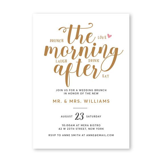 morning after brunch invitation wedding brunch invitation rise and