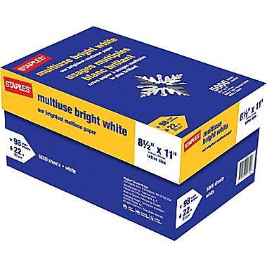 8 5 X 11 Multipurpose Paper 22 Lbs 98 Brightness 500 Ream 10 Reams Carton 22098 Bright White Lettering Office Paper