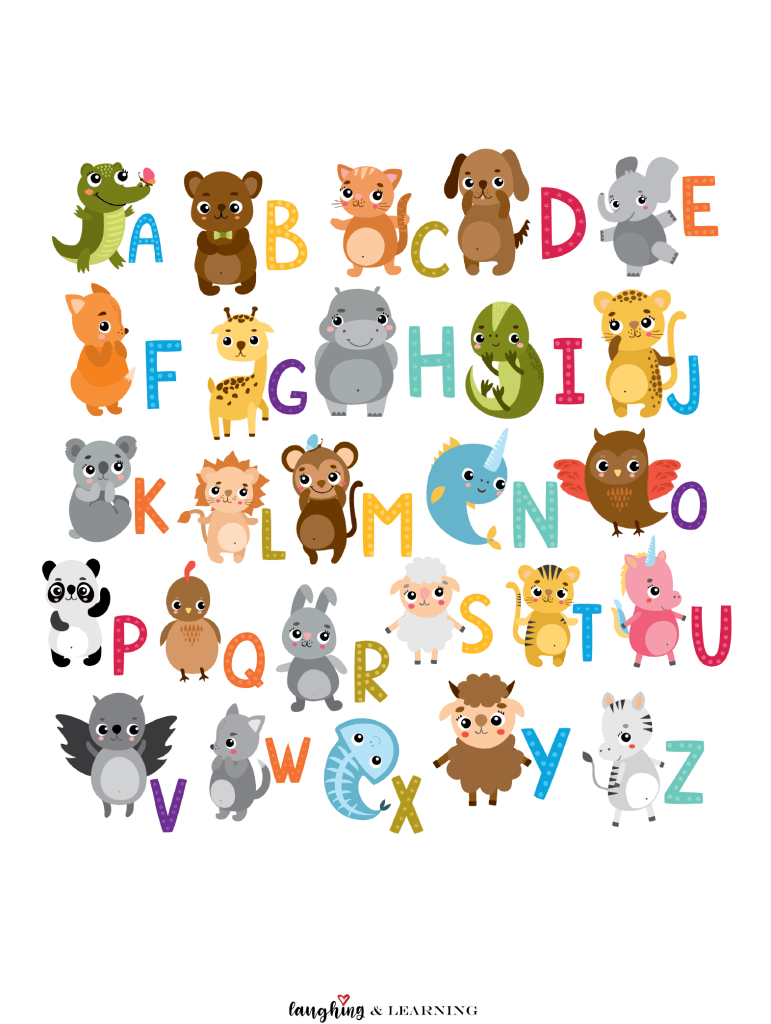 Free Printable Alphabet Animals Cards Laughing Learning Alphabet Printables Animal Flashcards Animal Letters