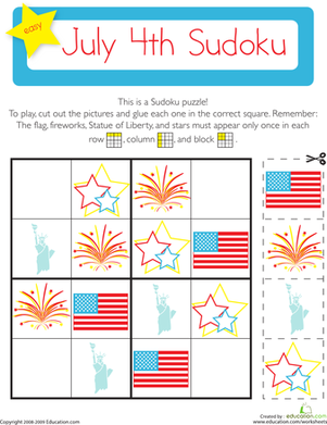 July 4th Sudoku Holiday Lessons Independence Day Theme Kindergarten Math Worksheets