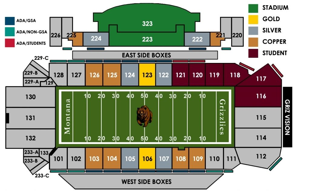 Seating Venue Griztix University Of Montana Throughout Grizzlies