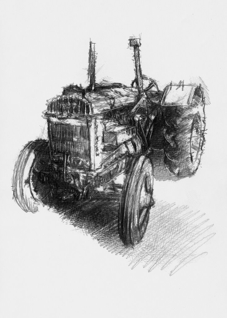 Artist Sean Briggs producing a sketch a day Tractor #art #drawing #http://etsy.me/1rARc0J #sketch #tractor
