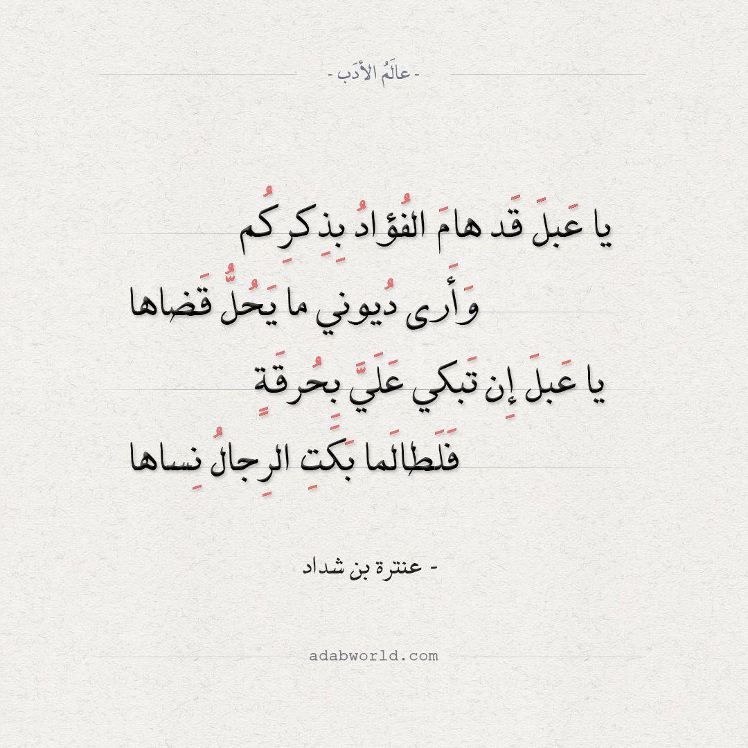 شعر عنترة بن شداد يا عبل قد هام الفؤاد بذكركم عالم الأدب Arabic Poetry Poetry Math