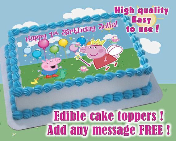 Peppa Pig Birthday Cake Toppers Edible Print Sugar Sheet Decoration Party Supplies Baby Showers C