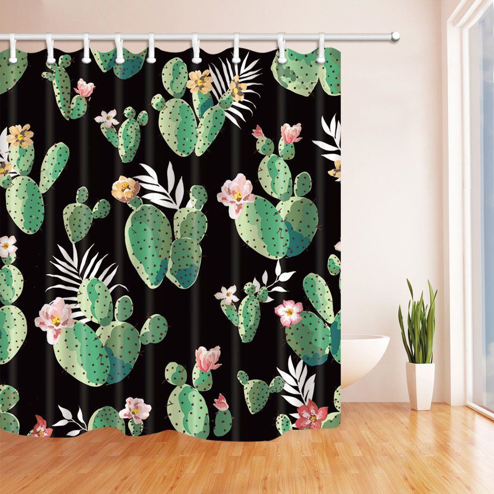 Green Banana Leaves Bathroom Decor Fabric Shower Curtain Set 71Inches-180X180CM
