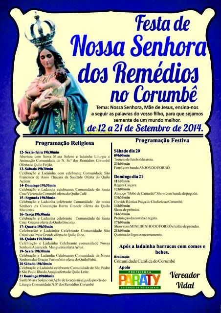 Festa de Nossa Senhora dos Remédios no Corumbê De 12 a 21 de setembro.  #NossaSenhoraDosRemédios #FestaReligiosa #Corumbê #cultura #turismo #Paraty #PousadaDoCareca