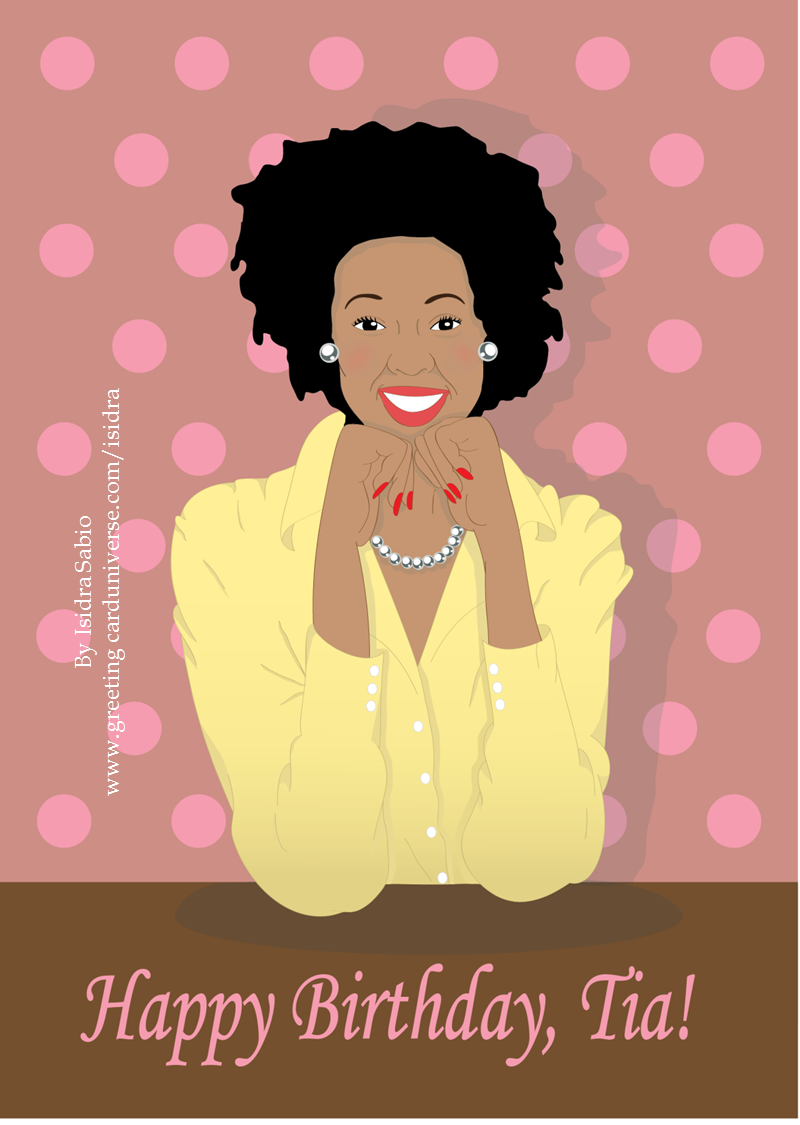 Happy Birthday Tia Auntie Beautiful And Elegant Black African American Woman With Birthday Card For Aunt Happy Birthday Auntie Birthday Cards For Mother