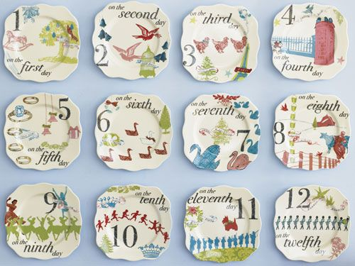 On the first day of Christmas, my true love gave to me these gorgeous graphic 12 Days of Christmas appetizer plates from Rosanna. #GoodHousekeeping #GiftIdeas