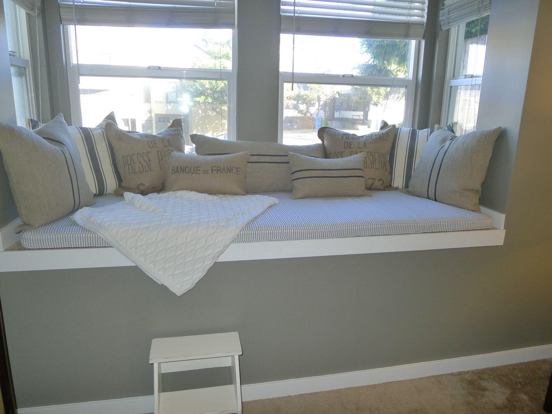 Custom Sewn Window Seat Cushion With Cording You Choose The Fabric 104 00 Via Etsy Choos Custom Window Seat Cushion Custom Window Seat Window Seat Design
