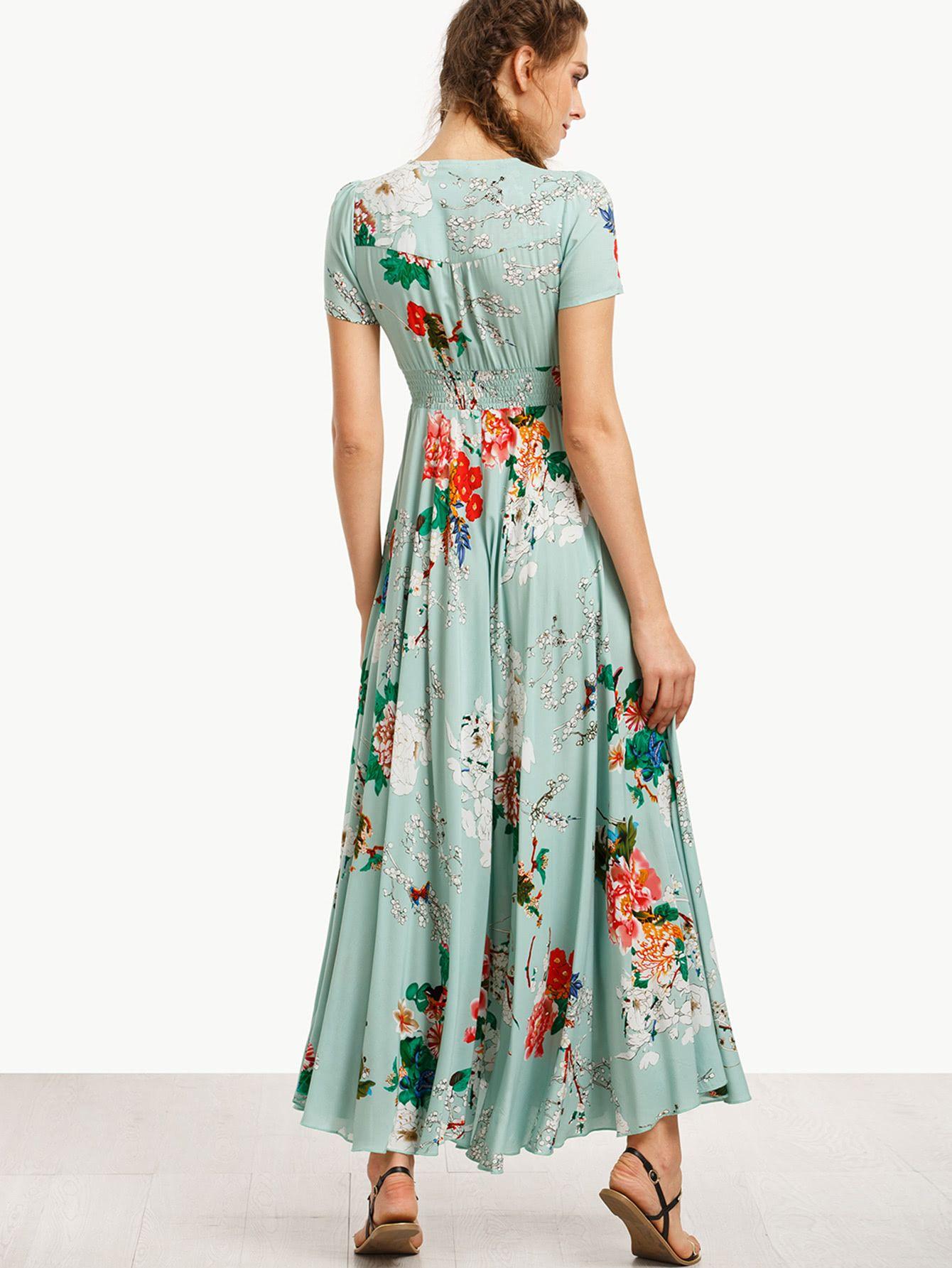 Shop shirt waist tassel tie button up botanical dress online shein