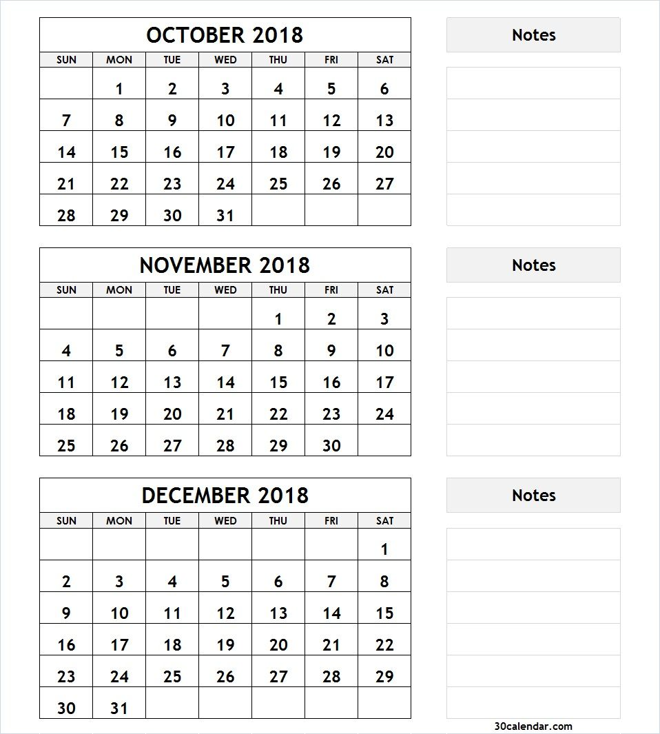 graphic regarding Printable 3 Month Calendar titled 3 Thirty day period Calendar Oct November December 2018 2018